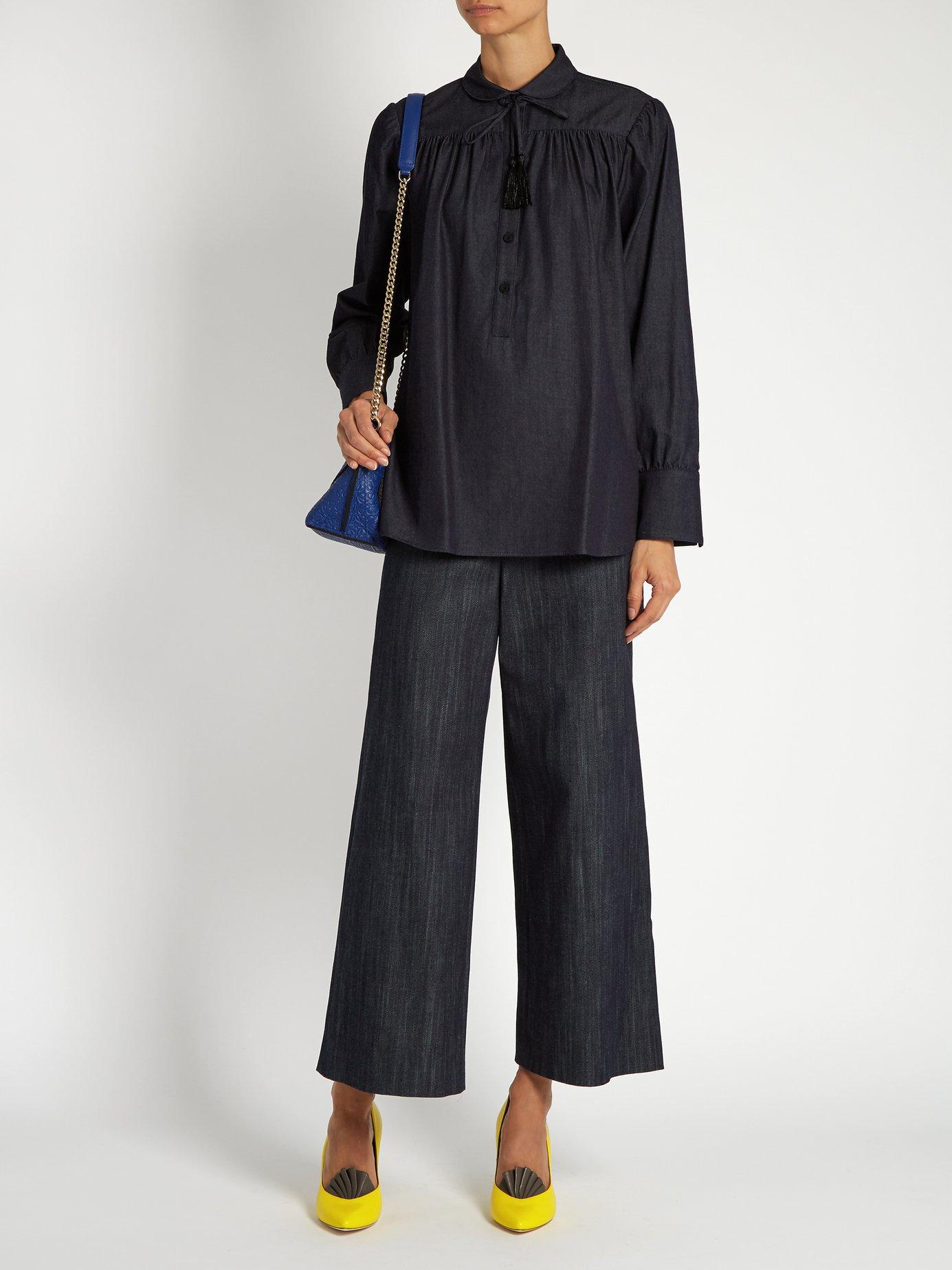 Blouson-sleeved denim blouse by Adam Lippes