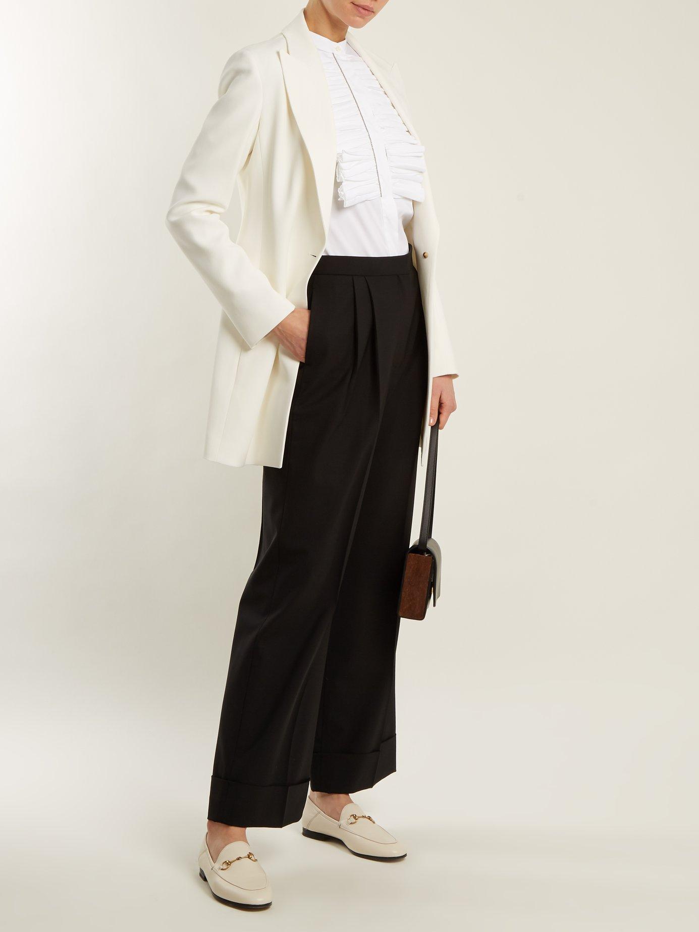 Ruffled-bib stretch-cotton shirt by Brunello Cucinelli