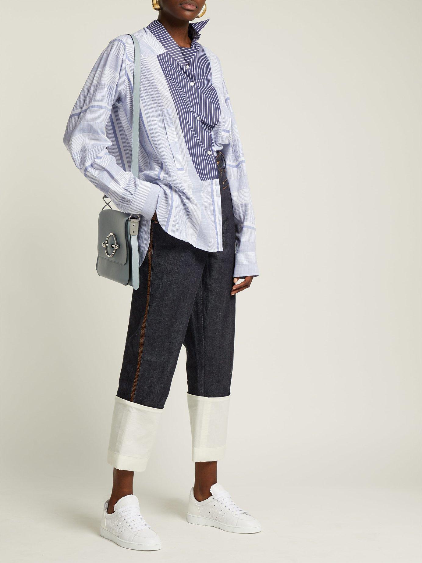 Asymmetric striped cotton shirt by Loewe