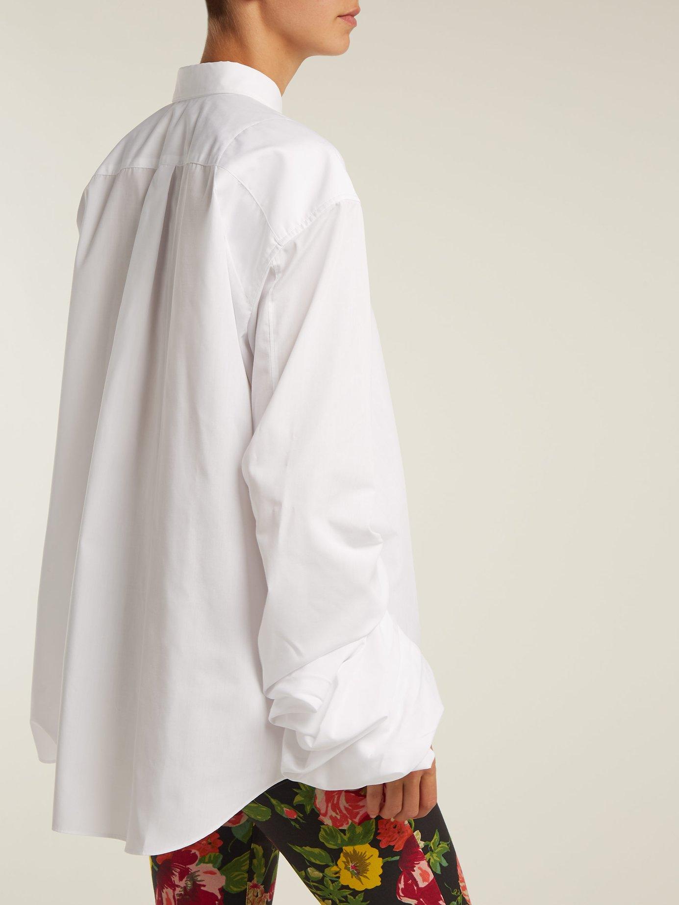 Ruched-sleeve poplin shirt by Junya Watanabe