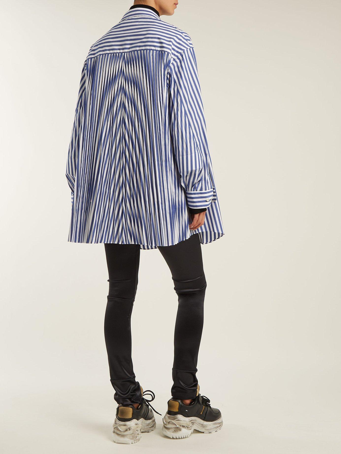 Oversized striped poplin shirt by Junya Watanabe