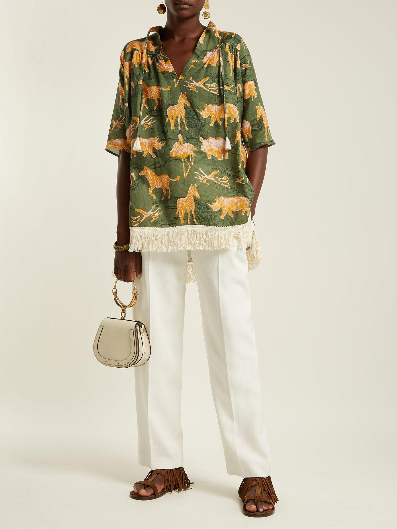Safari-print linen top by Chufy