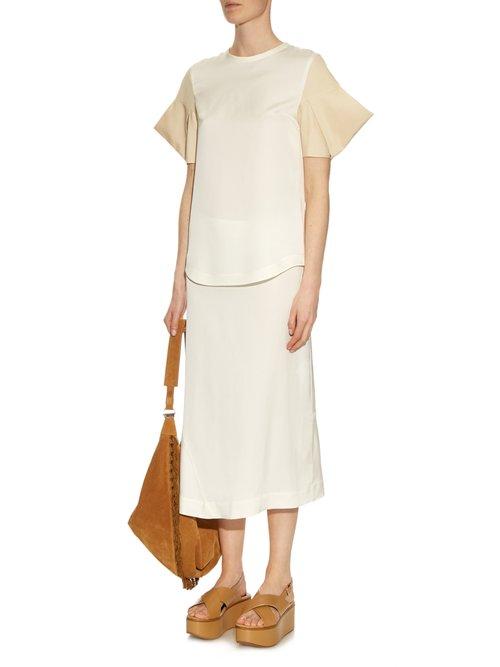 Acorn structured-sleeve silk-satin top by Jil Sander