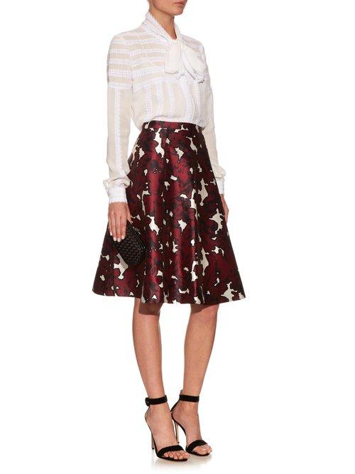 Long-sleeved lace-trimmed silk blouse by Oscar De La Renta