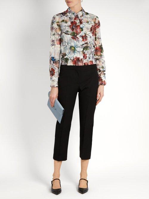 Sloane floral-print cotton-blend seersucker shirt by Erdem
