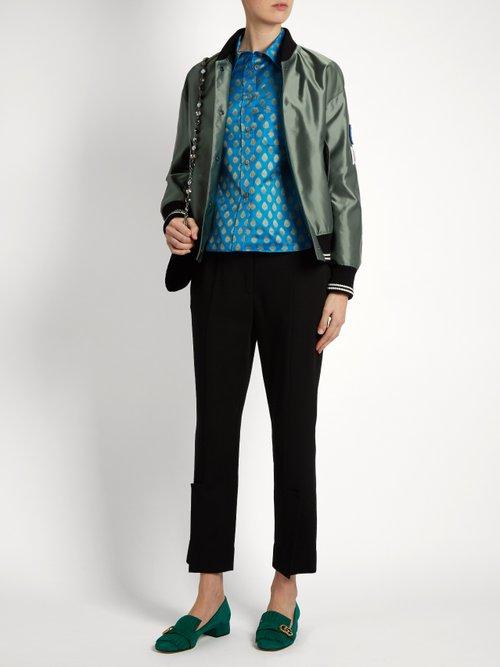 Point-collar leaf-jacquard shirt by Miu Miu