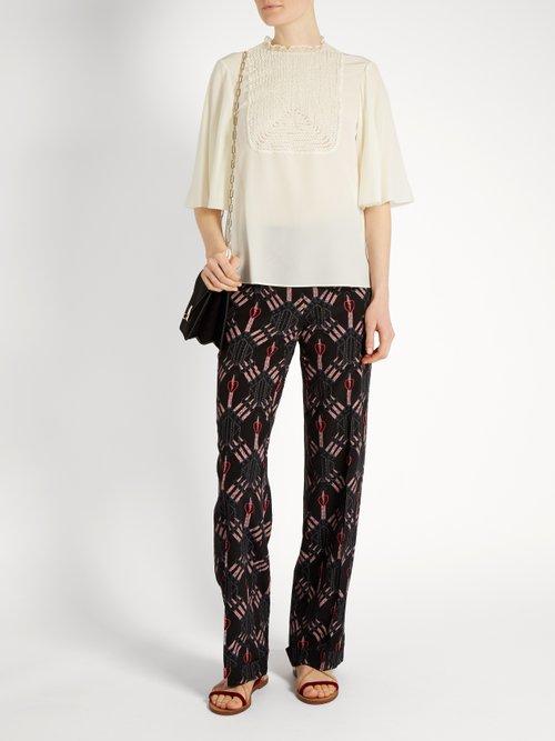 Lace-bib silk crepe de Chine top by Valentino