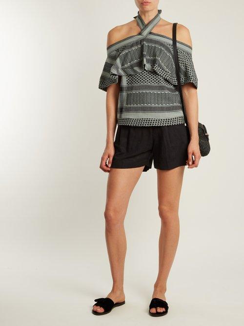 Topanga scarf-jacquard cotton top by Cecilie Copenhagen