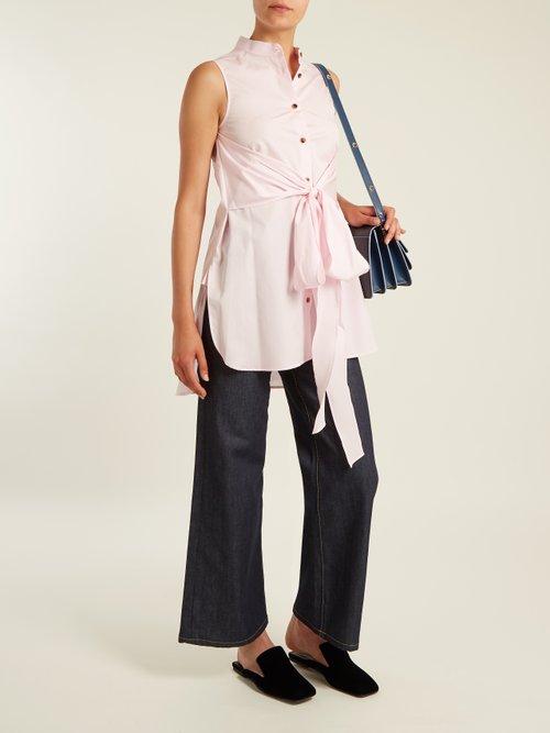 Angie sleeveless cotton-poplin shirt by Khaite