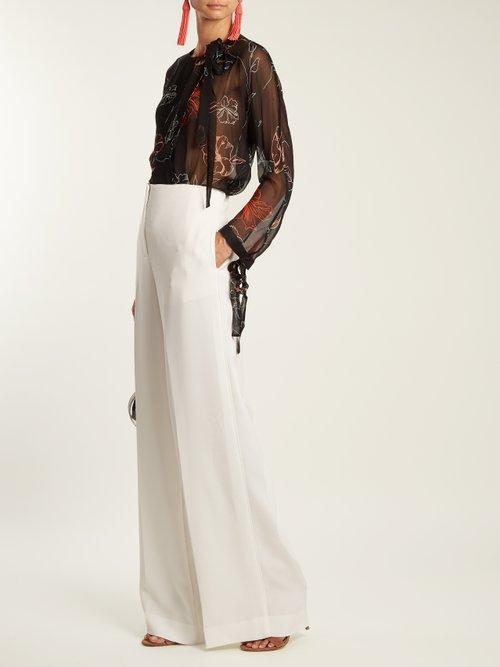 Fenelon-print neck-tie silk blouse by Diane Von Furstenberg
