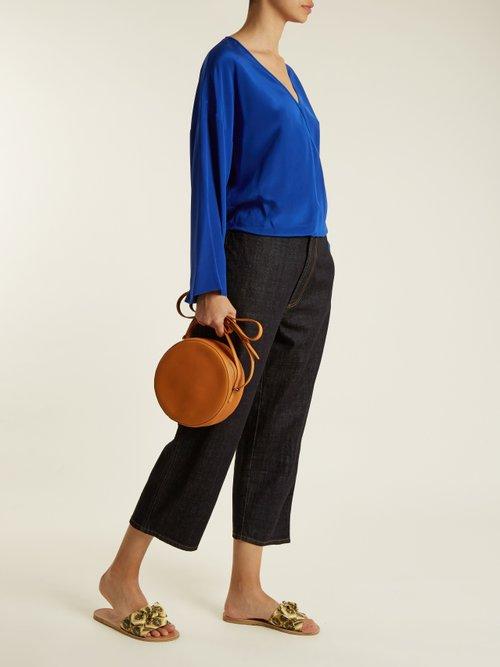 Crossover-front silk crepe de Chine blouse by Diane Von Furstenberg