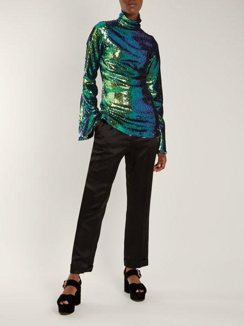 High-neck sequin-embellished top by Halpern