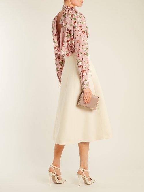 Daisy-print silk-crepe blouse by Valentino
