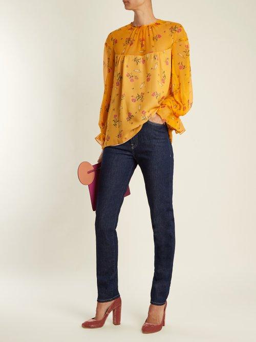 Lauren rose-print silk-chiffon blouse by Emilia Wickstead