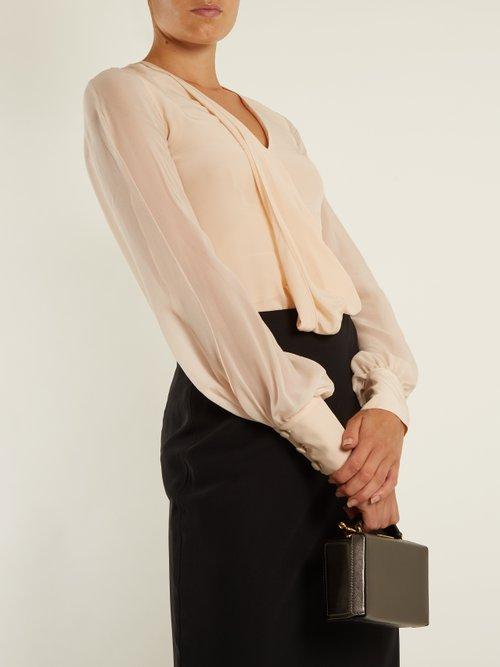 V-neck draped-front silk blouse by Lanvin