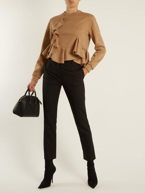 Ruffled-hem wool-jersey sweatshirt by Givenchy