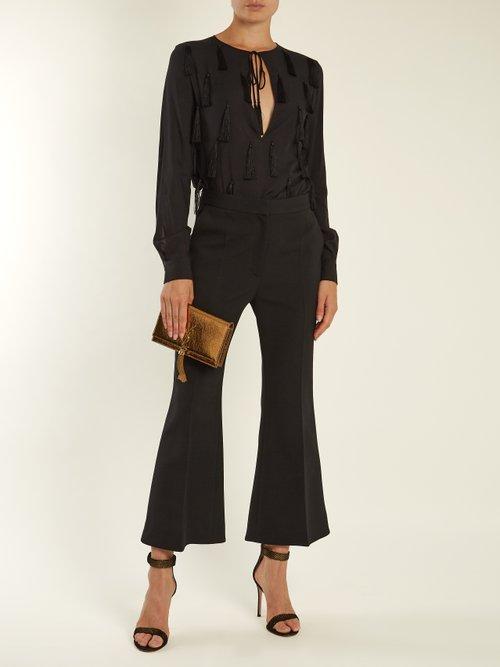 Tasselled-front tie-neck blouse by Saint Laurent
