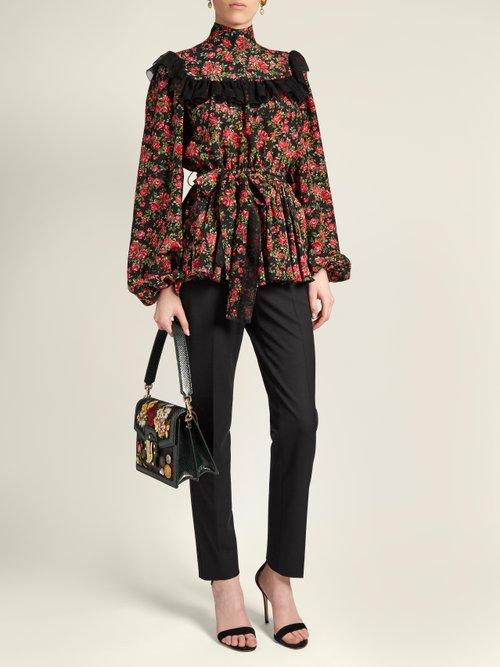 Rose-print ruffle-trimmed silk blouse by Dolce & Gabbana