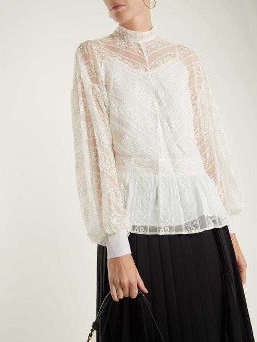 Peplum-hem floral-embroidered silk blouse by Muveil