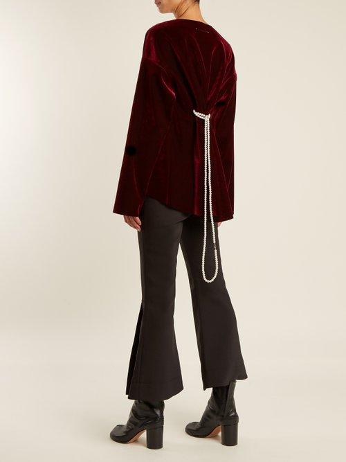 Faux pearl-embellished tie-waist velvet top by Mm6 Maison Margiela