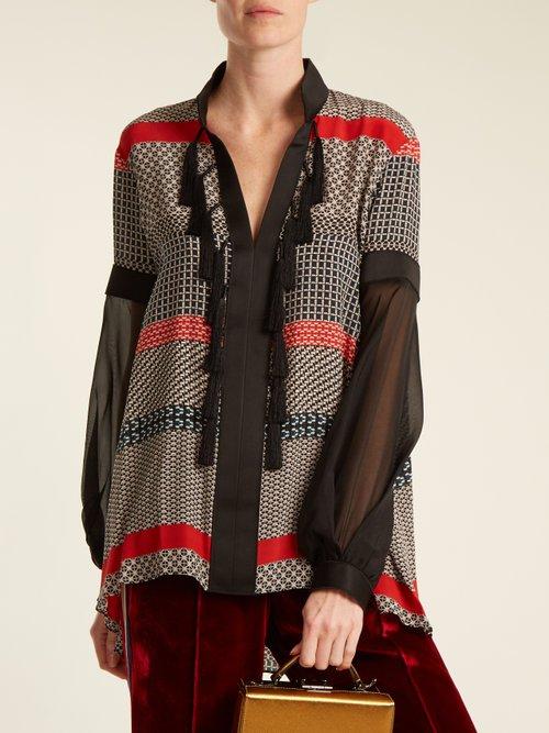 Geometric-print silk crepe de Chine blouse by Amanda Wakeley