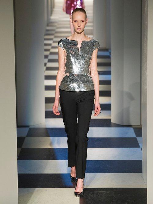 V-neck sequin-embellished top by Oscar De La Renta