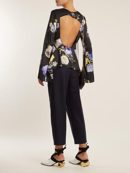 Bahari open-back floral-print satin top by Acne Studios