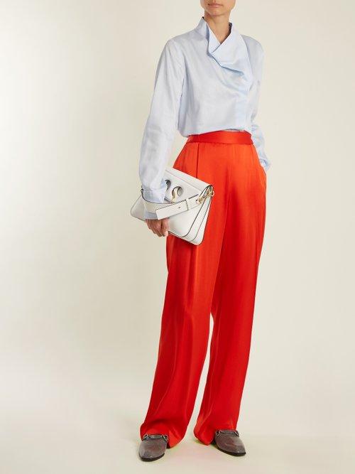 Draped-neck cotton-poplin shirt by Stella Mccartney