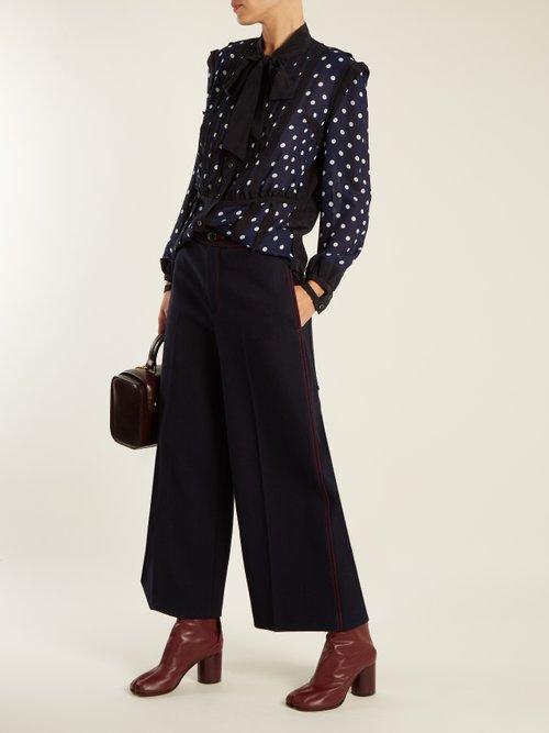 Polka-dot print and jacquard-trimmed silk blouse by Maison Margiela
