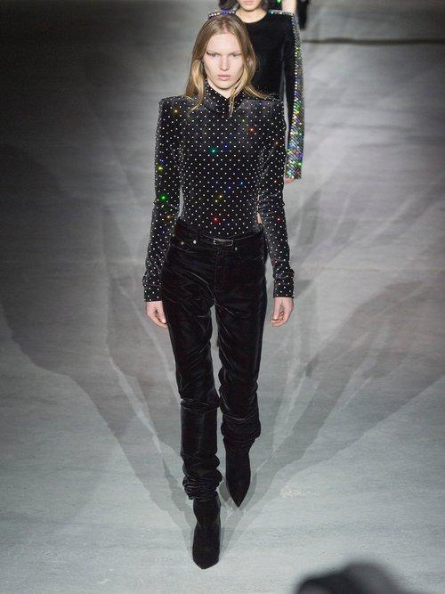 Crystal-embellished square-shoulder velvet body by Saint Laurent