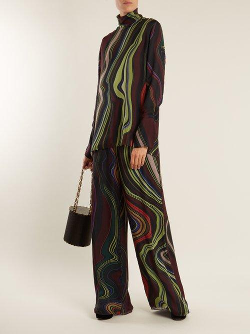 Asylum-print high-neck silk-chiffon top by By. Bonnie Young