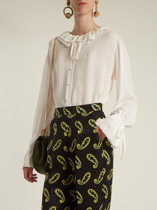 Ruffled-collar silk crepe de Chine blouse by Etro