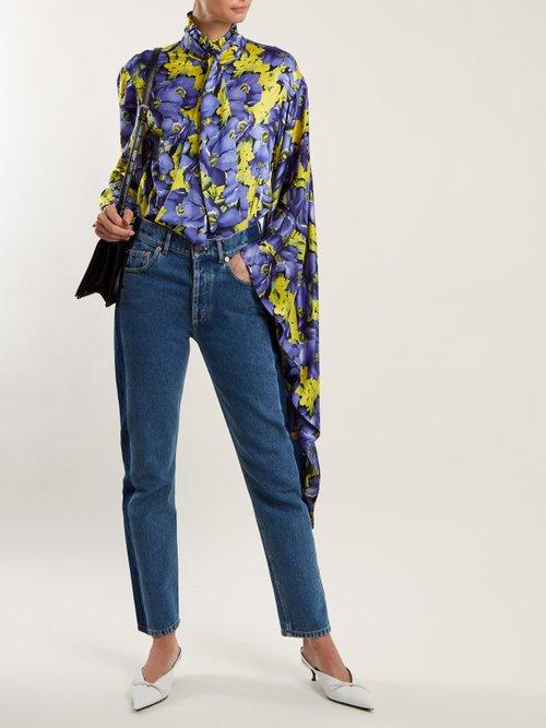 Poppy-print silk-jacquard shirt by Balenciaga