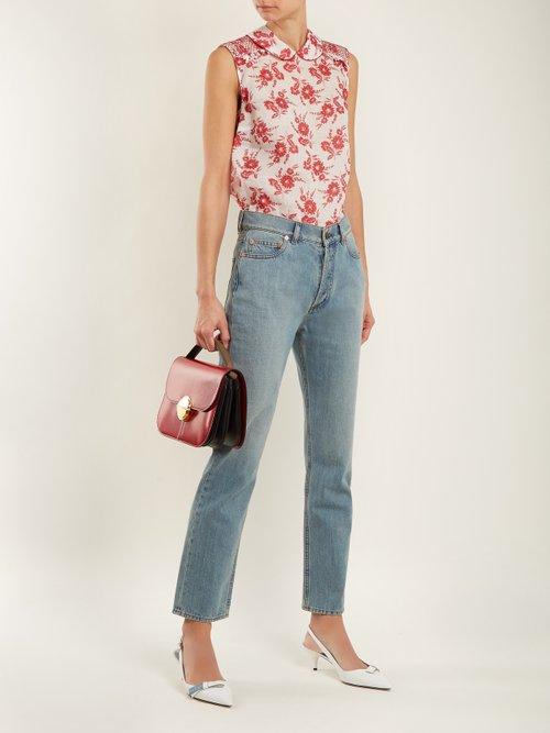 Sleeveless floral-print gauze top by Miu Miu
