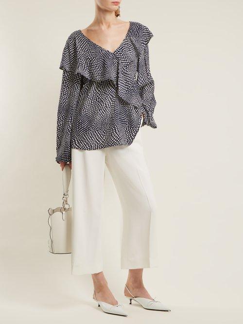 Easton polka-dot print silk wrap top by Diane Von Furstenberg