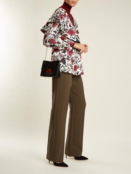 Canton-print stretch-cotton wrap top by Diane Von Furstenberg