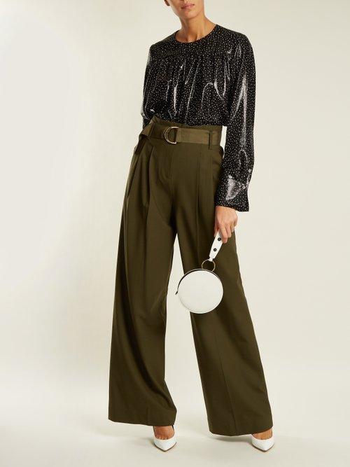 Polka dot-print silk-blend top by Diane Von Furstenberg