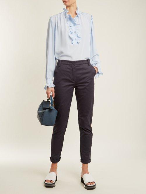 Ruffled-collar silk-crepe blouse by Stella Mccartney