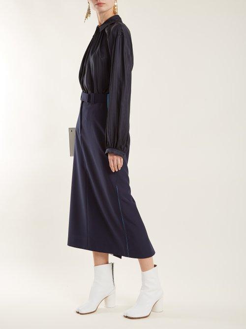 Stripe-jacquard silk blouse by Stella Mccartney