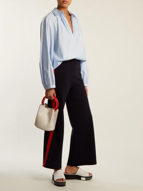 Gathered cotton-poplin shirt by Stella Mccartney