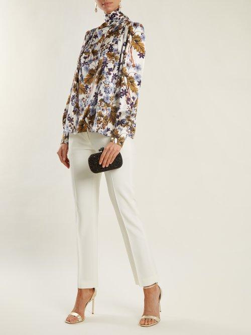 Inessa neck-tie floral-print silk blouse by Erdem
