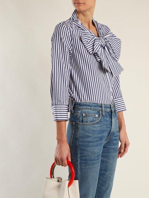 Natalie striped bow-embellished cotton blouse by Khaite