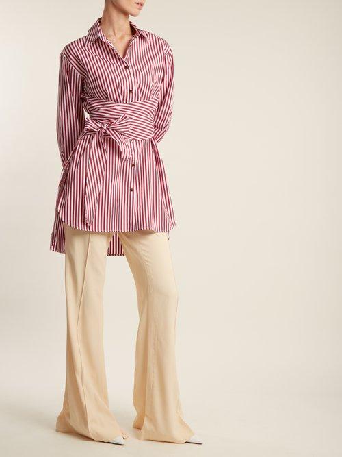 Bianca striped tie-waist cotton shirt by Khaite