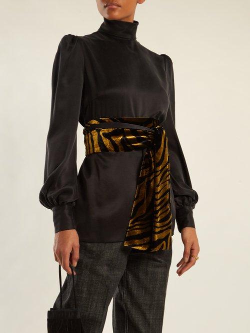Bishop-sleeved tie-waist sandwashed-silk blouse by Hillier Bartley