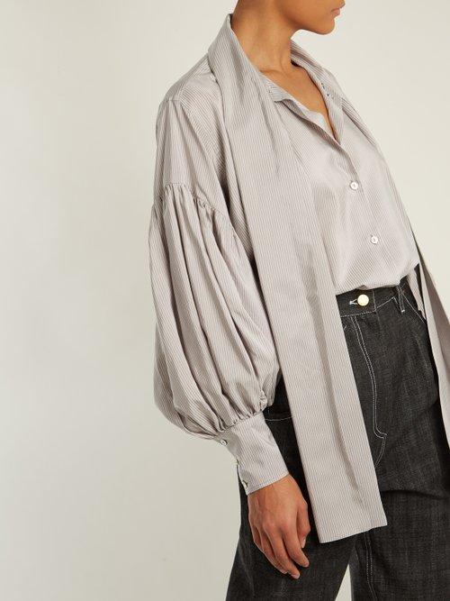 Balloon-sleeves pinstriped silk-blend shirt by Hillier Bartley