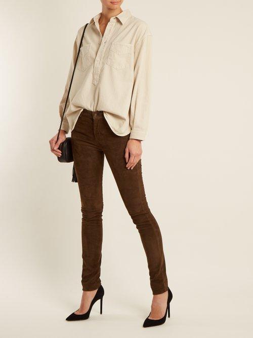 Point-collar half-button denim shirt by Saint Laurent