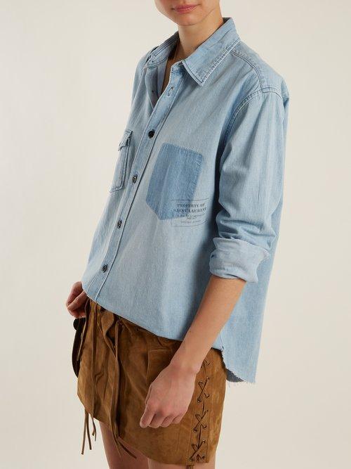 Patch-pocket denim shirt by Saint Laurent
