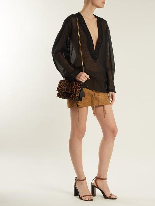 Embellished deep V-neck wool-blend voile top by Saint Laurent