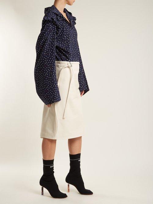 Ruffle-trimmed polka-dot silk hooded blouse by Vetements