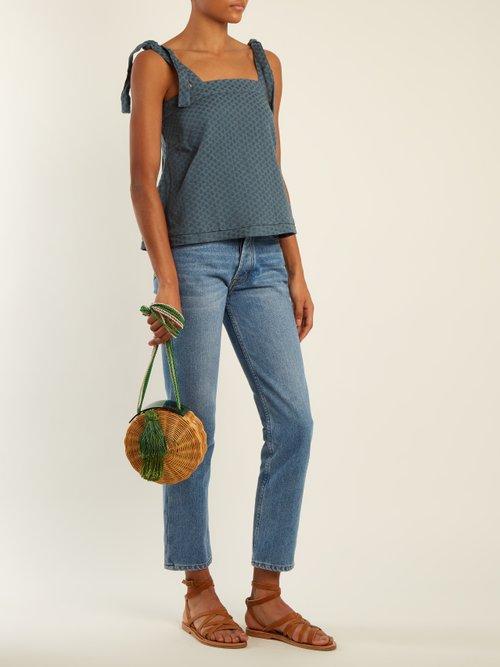 Lana tie-shoulder scarf-jacquard cotton top by Cecilie Copenhagen